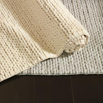 Cream Chunky Plaited Wool Rug