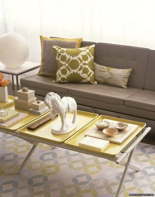 Pretty Gray Yellow Combo Modern Living Room Design With Tufted Sofa Tray Tables Is Such A Fantastic Combination