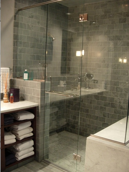 Blue Gray Subway Tiles  Contemporary  bathroom