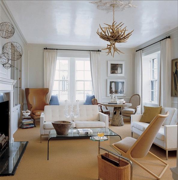White tufted sofa contemporary living room