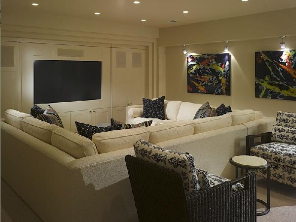 Pit sectional contemporary media room for House plans with media room