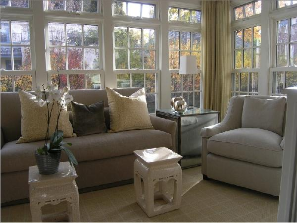 Love All Of The Windows In This Living Space Sunroom Hray U0026 Yellow Elegant Living  Room Design With Gray Upholstered Furniture And Pretty Pops Of Yellow Gold  ...
