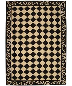 Black And Ivory Diamond Wool Rug