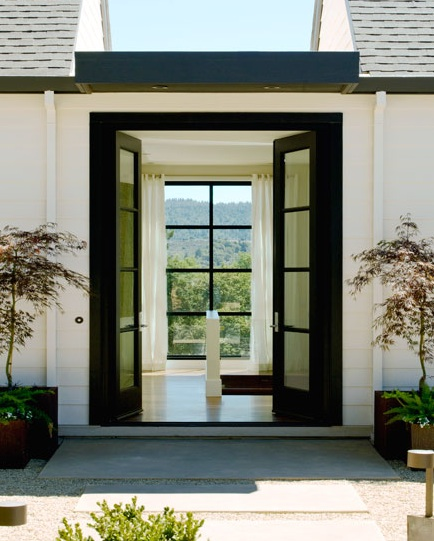 Black french doors contemporary entrance foyer for Black french doors exterior