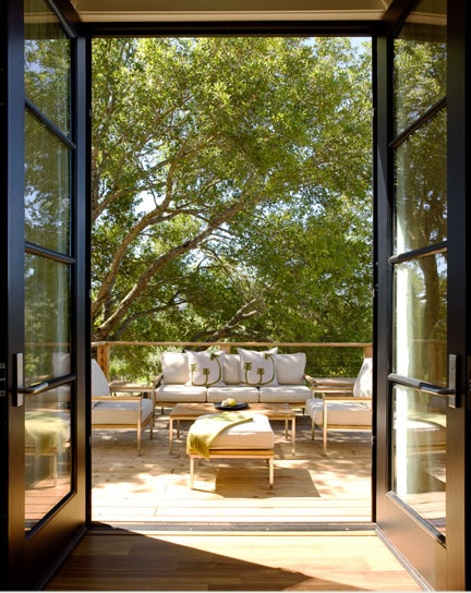 Modern patio doors contemporary deck patio dowling for Oversized exterior french doors