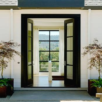 Black French Doors, Contemporary, entrance/foyer, Dowling Kimm Studios
