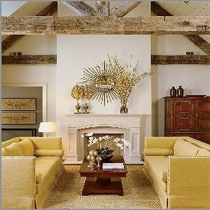 Mustard Yellow Sofa, Country, living room, Suzanne Kasler