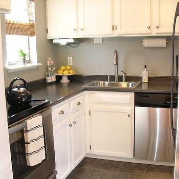 Grey Kitchen Cabinets Design Ideas - Grey and white small kitchen