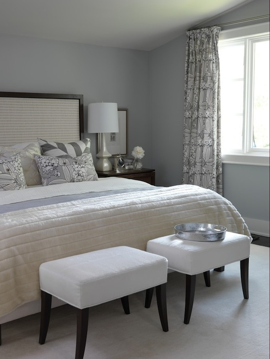blue and gray bedroom design with upholstered small benches blue gray