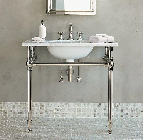 White gramercy single metal washstand for Pedestal sink with metal legs