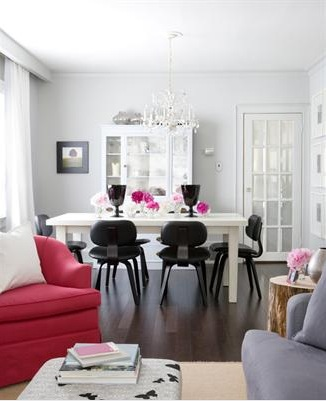 White dining table and black dining chairs contemporary - Benjamin moore stonington gray living room ...