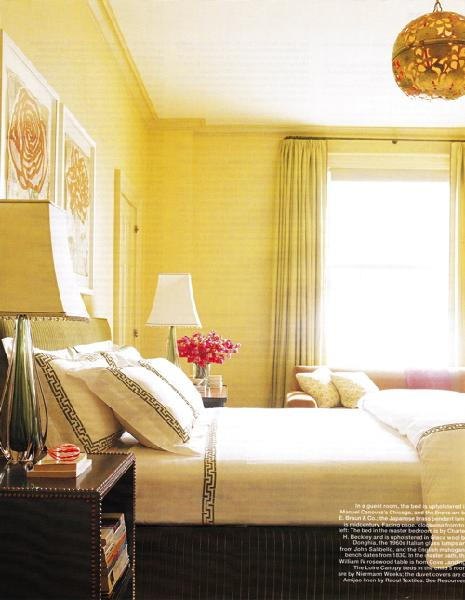 Greek key bedding transitional bedroom for Bedroom yellow walls