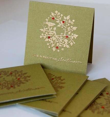 Green And Gold Mini Christmas Cards