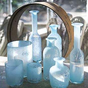 Mothology, The Science of Style, Blue Milk Glass Huricanes and Vases