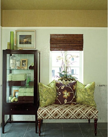 Great Sitting Area In Bathroom! Green U0026 Brown Bathroom Design With Glass  Wood Cabinet Etagere, Dark Slate Bathroom Floors And Upholstered Brown Faux  Bamboo ...