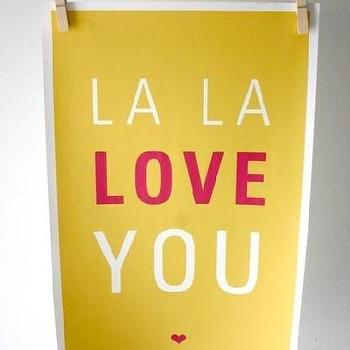 Etsy :: SparklePower :: La La Love You Poster, Gold and Magenta