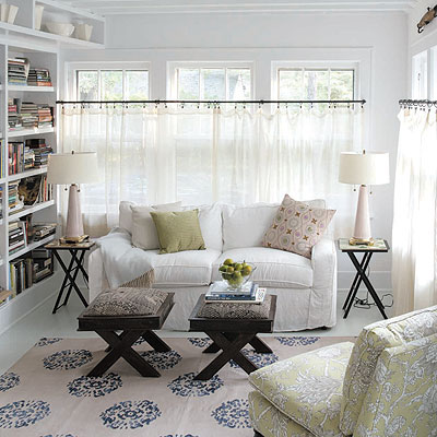 Love This Room, Especially The Rug Beautiful Cottage Living Room Design  With Slip Covered White Sofa With Upholstered X Stools Ottomans Tables. Part 64