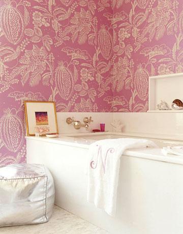 Pink Bathroom Wallpaper Contemporary Bathroom Amanda