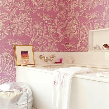 Pink Bathroom Wallpaper, Contemporary, bathroom, Amanda Nisbet Design