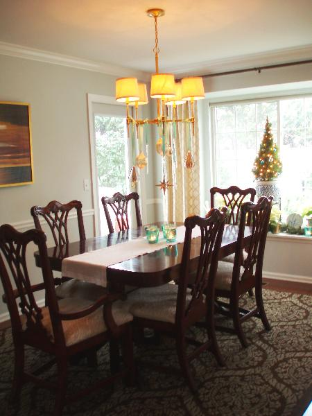 Our Dining Room Decorated For The Holidays   Chippendale Dining Chairs And  Table, Rug, Art, Chandelier And Gray Walls.