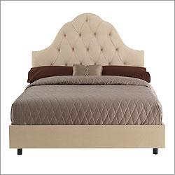Skyline Furniture 86, Tufted High Arch Bed in Parchment