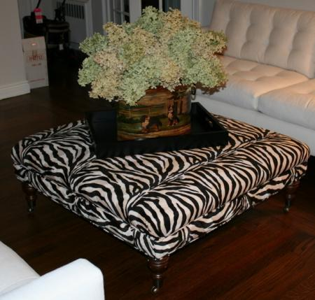 Black And White Oversized Ottoman Zebra Print