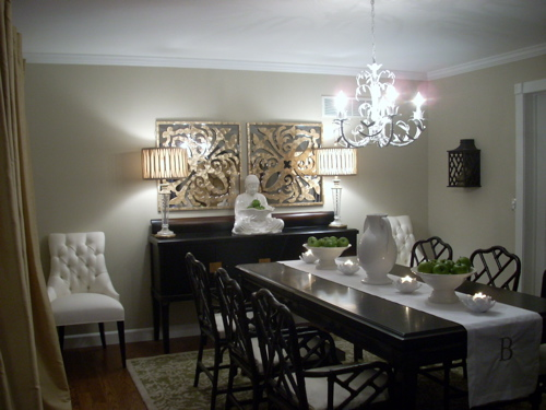 My Dining Room Black Dining Table With Faux Bamboo Chairs! Tufted Chairs  From Restoration Hardware And Pottery Barn Rug Is From Ebay!