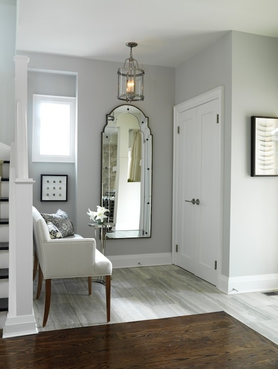 Gray walls transitional entrance foyer ici dulux silver cloud sarah richardson design - Wall colors for small spaces style ...