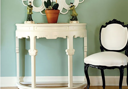 White Demilune Table