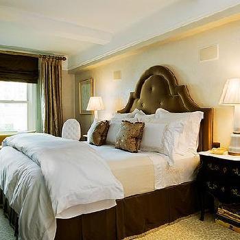 Velvet Tufted Headboard, French, bedroom, Jennifer Flanders Interior Design