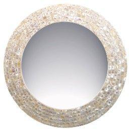 Round Beige Mosaic Frame Mirror