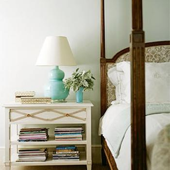 Turquoise Lamp, Transitional, bedroom, House Beautiful