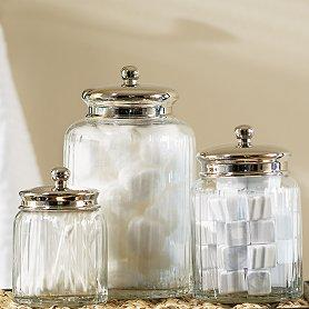 Mercury glass canisters west elm for Clear bathroom containers
