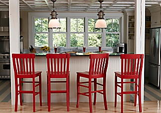 Red Bar Stools Cottage Kitchen