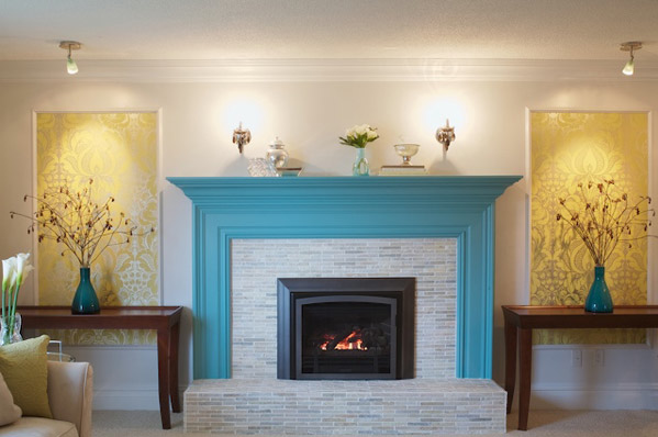 House Of Turquoise Blue White Fireplace