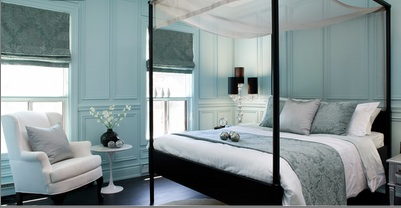 Turquoise Blue Bedroom Transitional bedroom