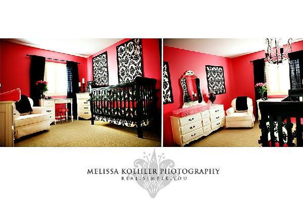 Pink And Black Damask Nursery