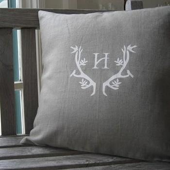 Etsy :: WhiteTwig :: White Twig Signature Antler Linen Pillow with Monogram