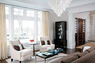 White Capiz Chandelier Transitional Living Room Elle