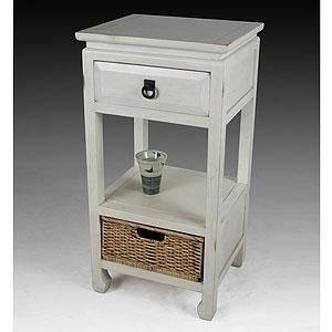 Vintage White Accent Table With Basket View Full Size