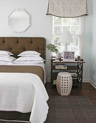 Cozy Bedroom Chocolate Brown Upholstered Tufted Headboard Bed With Crisp  White Textured Bedding! Love The Lattice Wood Nightstand Table Too!