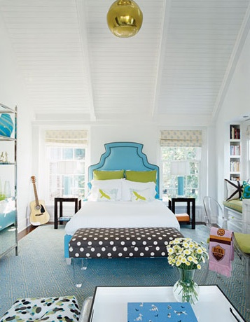 Lucite bench contemporary girl 39 s room house beautiful for Blue and green girls bedroom ideas