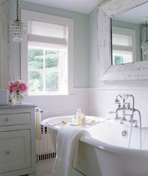 Shabby Chic Cottage Bathroom Marble Countertops Counter Tops And Glass Crystal Light Pendants How Pretty Is This