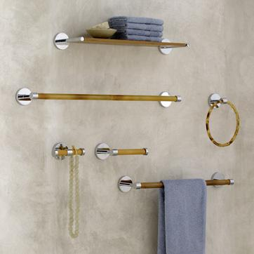 Brown Bamboo And Metal Bath Hardware