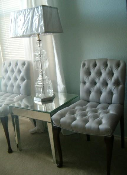 Grey Tufted Silk Side Chairs