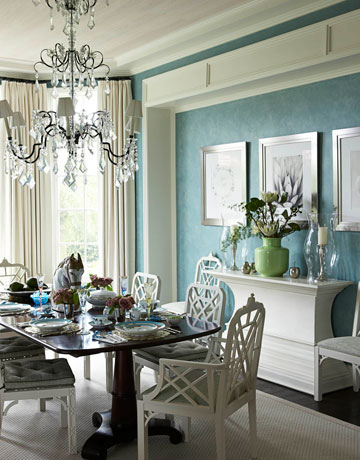 Turquoise Dining Room Transitional