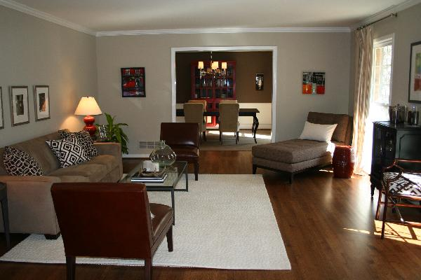 Red and Brown Living Room - Transitional - living room ...