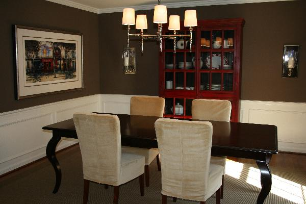 Dining room benjamin moore whitall brown for Brown dining room ideas
