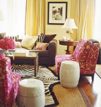 Pink damask chairs transitional living room for Brown zebra living room ideas