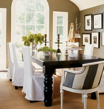 Striped Dining Chairs Traditional Room
